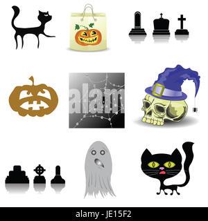 Bunte Illustrationen mit Halloween Deko set auf weißem Hintergrund - Stockfoto