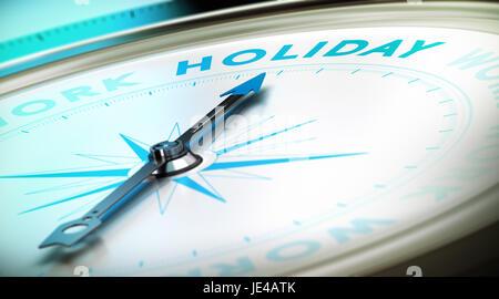 Kompass mit Nadel zeigt das Wort Urlaub mit Blur-Effekt sowie blauen und schwarzen Tönen. Konzeptbild zur Veranschaulichung - Stockfoto