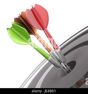 Drei darts das Zentrum einer Dartscheibe auf weißem Hintergrund, modernes Design Illustration dafür schlagen. Konzept - Stockfoto