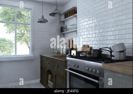 vorne eine kleine Wohnung Küche mit weißen Möbeln, Backofen ...