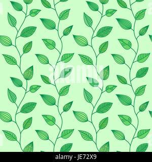 Nahtloses Muster mit dekorativen Blätter, Frühling und Sommer Hintergrund Stockfoto