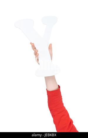 Kind hält in der hand bunte Alphabet Buchstabe Y isoliert, Alphabet Buchstaben Konzept - Stockfoto