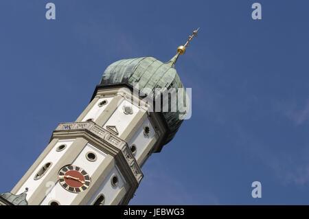 Deutschland, Bayern, Augsburg, Kirchturm, Basilika Stück Ulrich und Afra, - Stockfoto