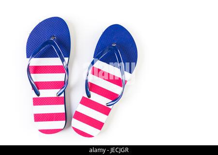 Flip-Flops mit roten, weißen und blauen Muster mit 4. Juli Thema. - Stockfoto