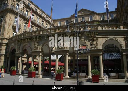 """Deutschland, Hessen, Frankfurt am Main, Hotel, """"Frankfurter Hof"""" Hessischen Hof, Eingang, Luxus, historisch, Pflanzen, - Stockfoto"""