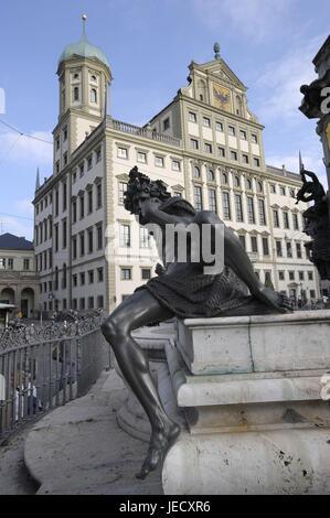 Deutschland, Bayern, Augsburg, Skulptur, Augustusbrunnen, Rathaus, - Stockfoto