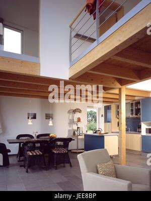Einfamilienhaus Wohnung, Küche, Esszimmer, Esstisch, Obergeschoss, Galerie,  Moderne, Wohn