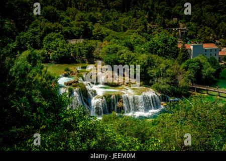 Der Skradinski buk Wasserfall Krka Nationalpark in Kroatien - Stockfoto