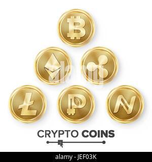 Digitale Währung Theke Icon Set Vektor. FinTech Blockchain. Weltberühmten Kryptographie. Gold-Münzen. Krypto Währung - Stockfoto