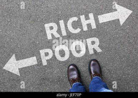 Arme reiche Armut Finanzen finanziellen Erfolg erfolgreich Geld Business Konzept Finanzen - Stockfoto