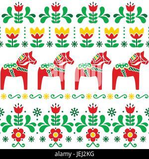 Schwedische traditionelle muster  Schwedischen Dala Pferd Muster, skandinavischen nahtlose ...
