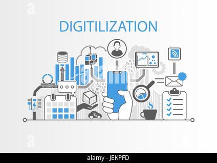 Digitalisierung-Konzept als Vektorgrafik mit Hand Lünette-freie smartphone - Stockfoto