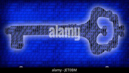 Konzeptbild von Schlüssel und binären Code von eins und Null auf dem blauen Bildschirm. - Stockfoto