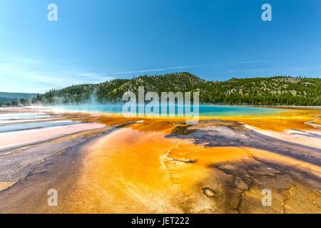 Grand Prismatic Spring im Yellowstone National Park - Stockfoto