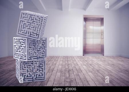 Das zusammengesetzte Bild im Labyrinth Cubes - Stockfoto