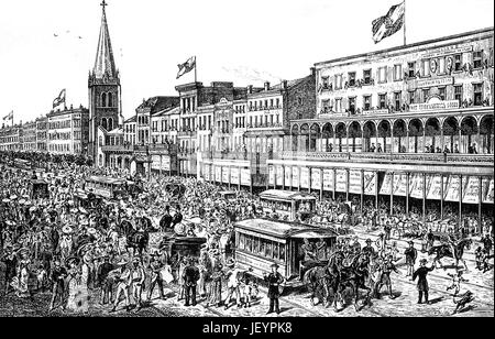 1879: Canal Street am Fasching Karneval Eve, New Orleans, Louisiana, Vereinigte Staaten von Amerika - Stockfoto