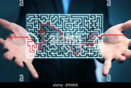 Geschäftsmann auf unscharfen Hintergrund suchen Lösung für ein kompliziertes Labyrinth - Stockfoto