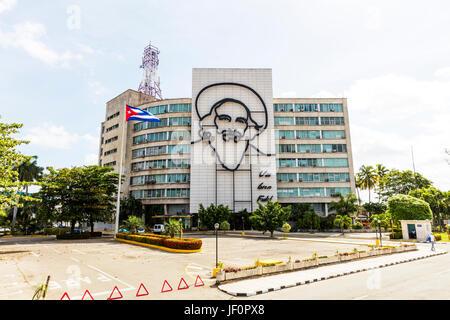 Fidel Castro Kuba Skulptur in Revolution Square Havanna Kuba, Plaza De La Revolución, Fidel Castro Revolutionsplatz, - Stockfoto