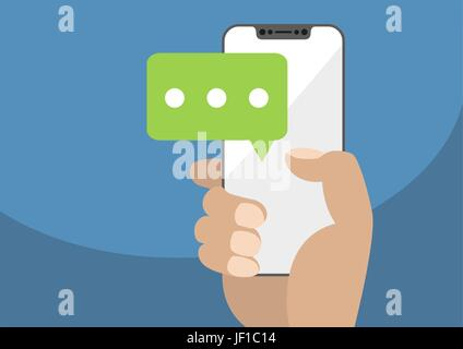 Vektor-Illustration von Hand, die Lünette-frei / rahmenloses modernes Smartphone mit Chatsymbol, um mobile Chat - Stockfoto