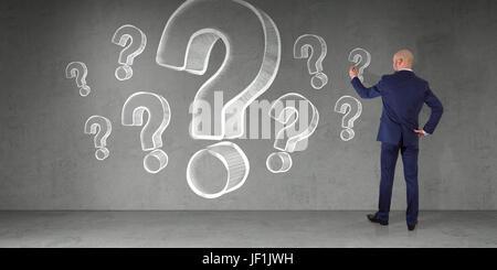 Kaufmann im modernen Interieur Zeichnung Fragezeichen Skizze auf eine Wand 3D-Rendering - Stockfoto