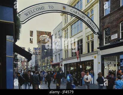 Carnaby Street. London. England. VEREINIGTES KÖNIGREICH. 1990 - Stockfoto