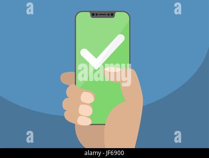 Weißes Häkchen auf grünem Touchscreen. Hand, die Lünette frei / rahmenlose Smartphone. Mobilen Erfolgskonzept. Modernes - Stockfoto