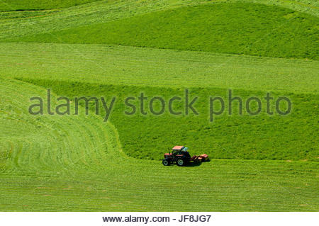 Ein Traktor bei der Feldarbeit Santa Maddalena. - Stockfoto