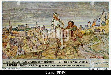 Leben von Albrecht Dürer (21 Mai 1471 – 6 April 1528). Zurück nach Nürnberg, 1495-1505. Liebig-Sammler-Karte, 1948 - Stockfoto