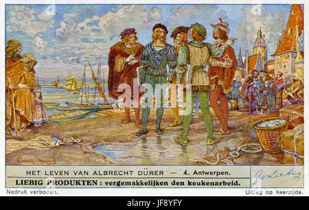 Leben von Albrecht Dürer (21 Mai 1471 – 6 April 1528). Reisen in Antwerpen und den Niederlanden. Liebig-Sammler - Stockfoto