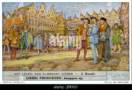 Leben von Albrecht Dürer (21 Mai 1471 – 6 April 1528). Reisen Sie nach Brüssel auf Antrag von Christian II. von - Stockfoto
