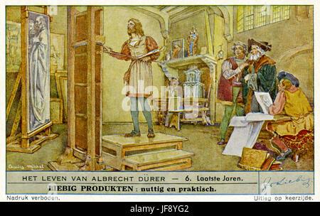 Leben von Albrecht Dürer (21 Mai 1471 – 6 April 1528). Letzten Jahren in Nürnberg. Liebig-Sammler-Karte, 1948 - Stockfoto