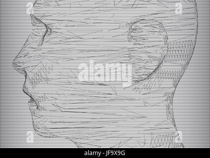konzeptionelle 3D Wire Frame menschlichen Männerkopf - Stockfoto