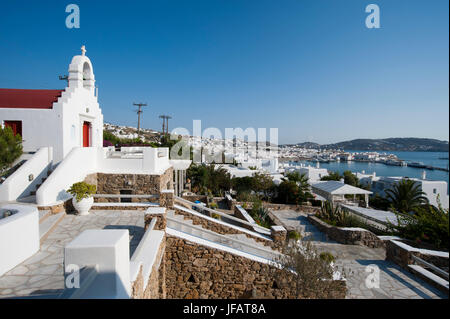 Mykonos-Stadt, Chora, Mykonos, Kykladen, Griechenland. - Stockfoto
