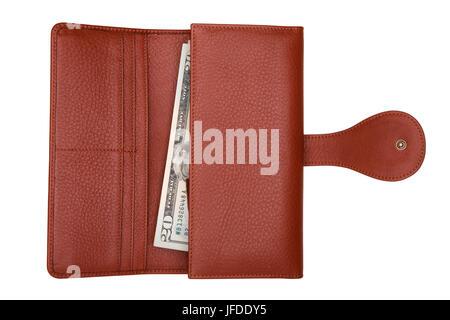 Braun Leder Geldbörse mit Geld isoliert auf weißem Hintergrund. Teure Frau Handtasche Nahaufnahme. Portemonnaie - Stockfoto