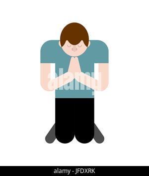 Mann ist auf den Knien betend. Gebet zu Gott - Stockfoto
