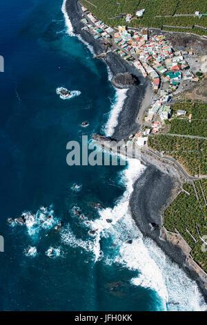 Playa Bombilla, Fischerdorf auf La Palma, Luftbild, Kanarische Inseln, Spanien - Stockfoto
