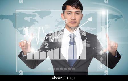 Das zusammengesetzte Bild im mürrisch Geschäftsmann Holding - Stockfoto