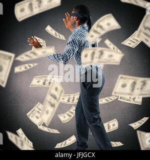 Das zusammengesetzte Bild der Geschäftsmann mit verbundenen Augen, Arme heraus - Stockfoto