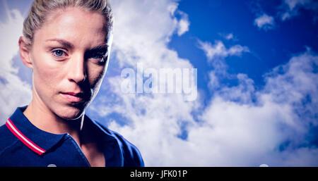 Zusammengesetztes Bild des Porträts von Tennisspielerin - Stockfoto