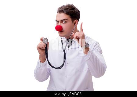 Lustiger Clown Doktor auf dem weißen Hintergrund isoliert - Stockfoto