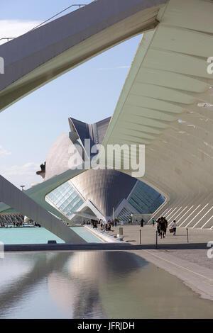 Architektonisches Detail der Stadt der Künste und Wissenschaften, Valencia, Spanien. - Stockfoto