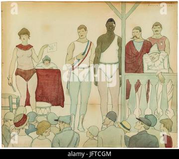 04.Torné Esquius. Lluitadors de Fira. VINSEUM, Museu de Les Kulturen del vi de Catalunya - Stockfoto