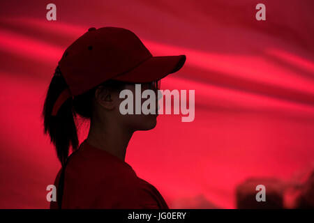 Silhouette eines Arbeitnehmers, junge asiatische Fastfood - Stockfoto