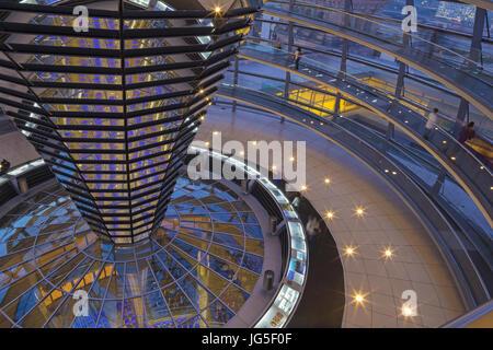 BERLIN, Deutschland, Februar - 13, 2017: Die Interion der Kuppel des Reichstagsgebäudes in der Abenddämmerung. - Stockfoto