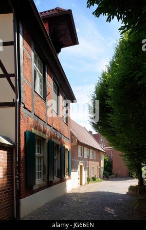 Wohnhaeuser ein Einer Gasse bin Horsteberg in Münster, Westfalen, Nordrhein-Westfalen - Stockfoto
