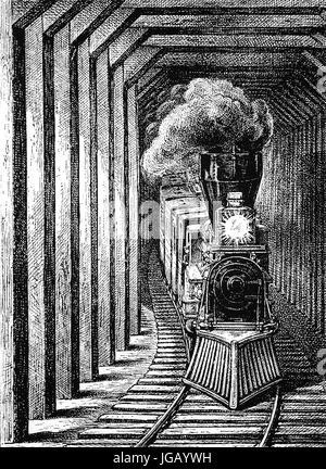1879: eine Bahn Schnee zu vergießen, Schnee-Brücke oder Lawinen-Galerie. Eine Art von steifen Schnee-unterstützende - Stockfoto