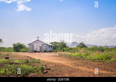 Kleine christliche Kirche in ländlichen afrikanischen Gegend, Kenia - Stockfoto