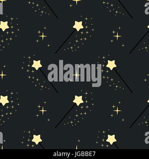 Zauberstab nahtlose Muster Hintergrund Vektorgrafik - Stockfoto