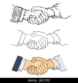 Zitternden Händen flache Design-Konzept. Handshake, Geschäftsvereinbarung, Partnerschaft-Konzepte. Zwei Hände schütteln - Stockfoto