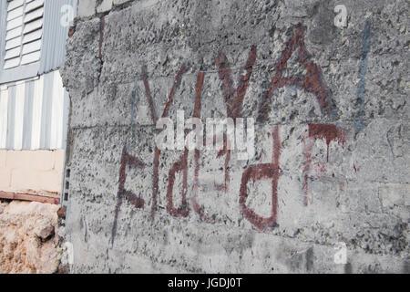 """""""Viva Fidel"""" gemalt auf der Wand auf ein Haus von Trinidad, Kuba - Stockfoto"""